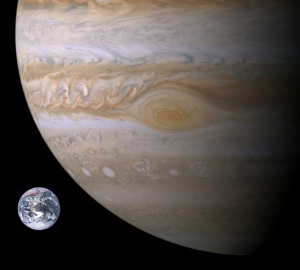 Size of Earth compared to Jupiter.